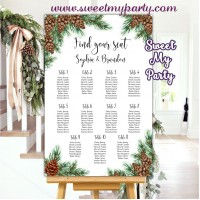 Pine Cone Seating Chart,Winter Wedding Seating Plan,(119w)