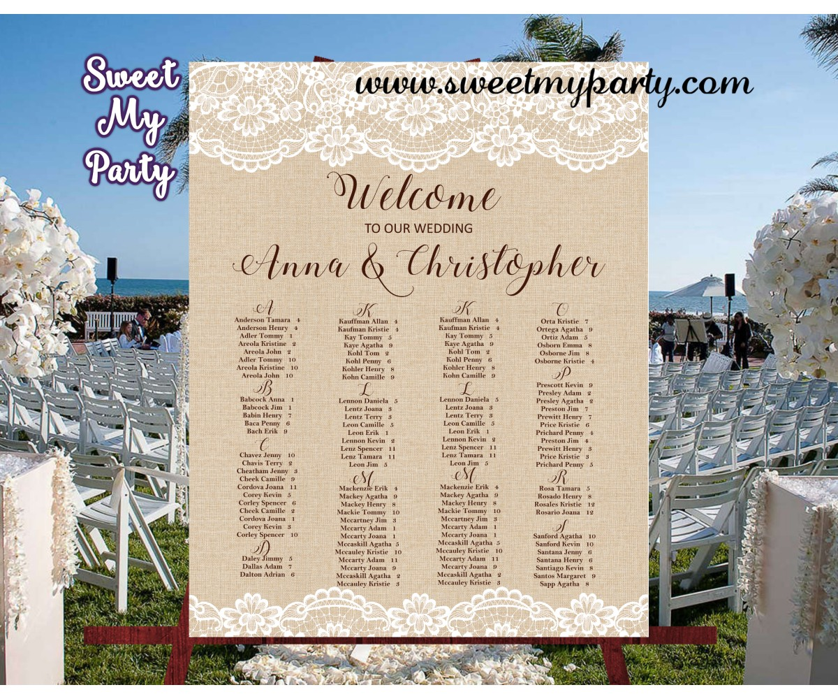 Rustic Wedding Seating Chart Ideas: Wedding Lace Burlap Seating Plan