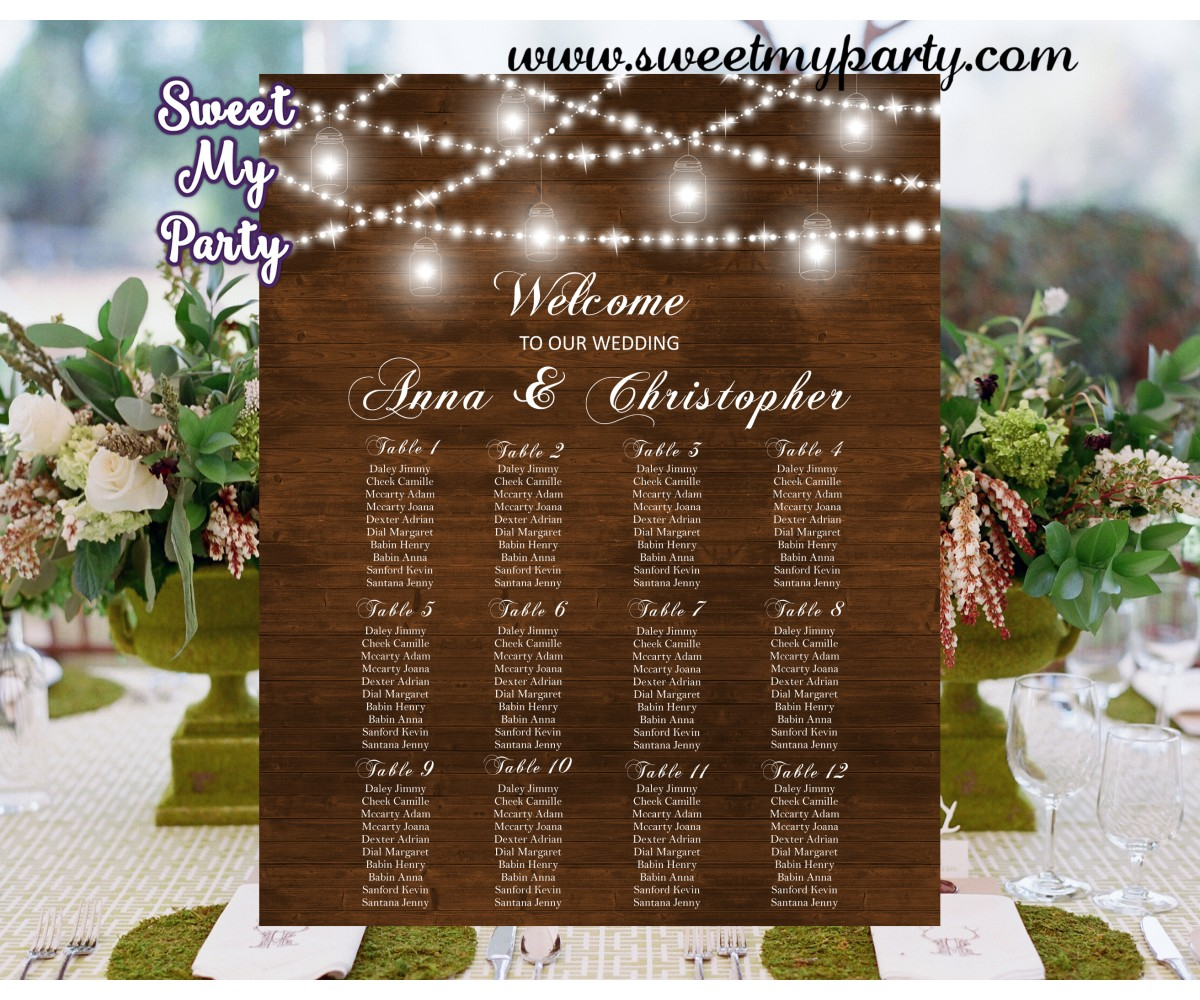 Rustic Wedding Seating Charts,Mason Jar Wedding Seating Plan,(030w)