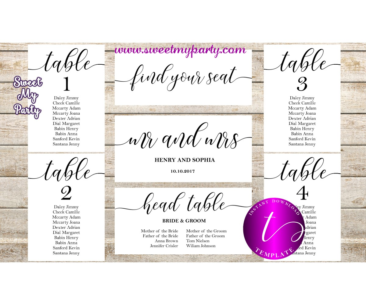 rustic weding seating chart template printable