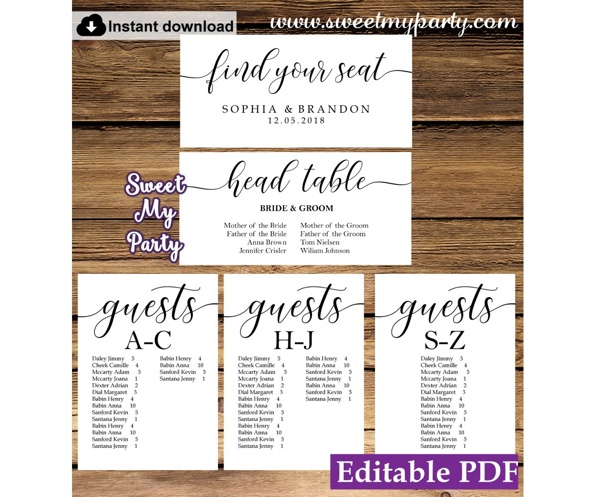 Rustic seating chart cards template printable,seating chart alphabetical, (51)