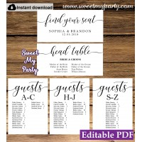 Rustic seating chart cards template printable,Modern Calligraphy seating chart alphabetical, (51)