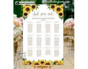 Sunflowers Seating Chart template,Sunflowers Wedding Seating Plan template,(143)