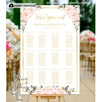 Blush roses seating chart template,Blush roses seating chart template, (136)