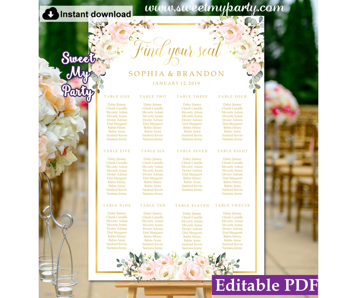 Blush Ivory seating chart template,Blush roses seating chart template, (137)