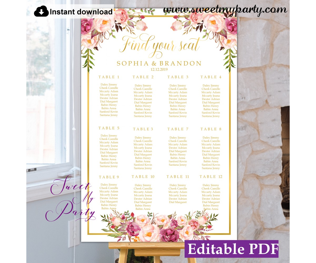 Floral seating chart template,Blush flowers seating chart,(31g)