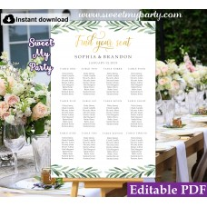 Greenery seating chart template, Gold seating chart template, (78)