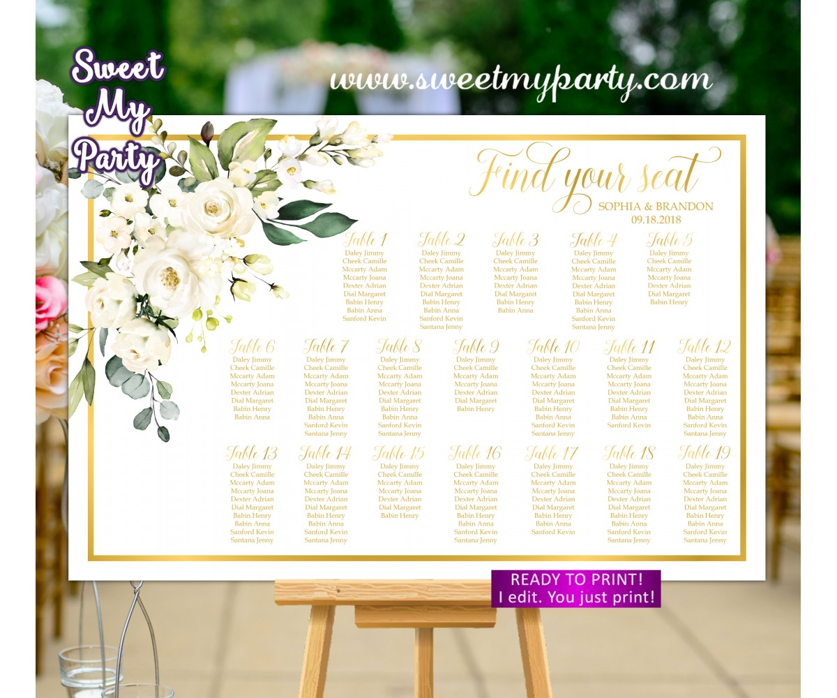 Ivory Roses Seating Chart,Cream Roses Seating Plan,(123aw)