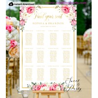 Ivory Red Roses Seating Chart template,Red Roses Wedding Seating Plan template,(146)
