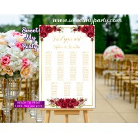 Red Roses Seating Chart,Red Roses Wedding Seating Plan,(16w)