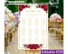 Red Roses Seating Chart template,Red Roses Wedding Seating Plan template,(16w)
