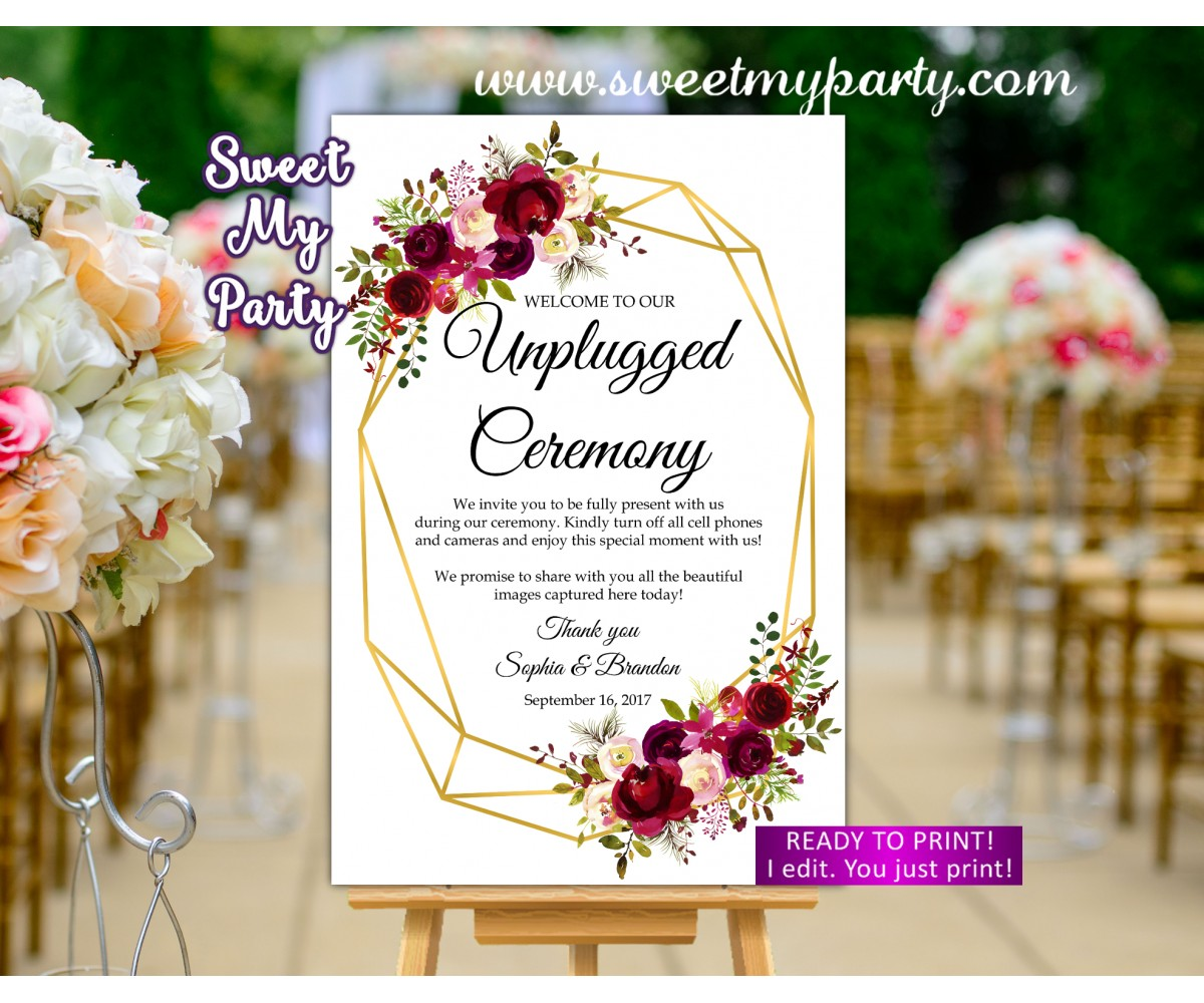 Geometric Unplugged Ceremony Sign,Geometric Unlugged Ceremony sign,(116w)