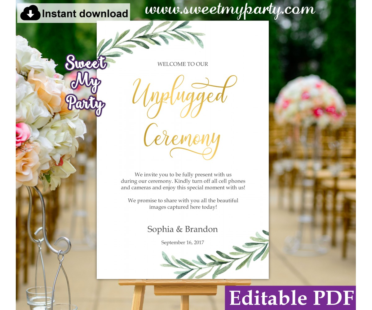 Greenery Unpplugged Ceremony sign template, Greenery Unplugged Wedding sign template, (78)