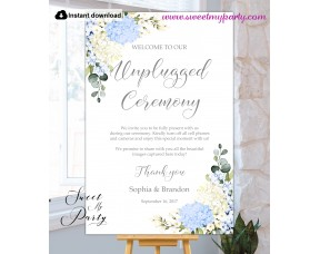 Blue Ivory Hydrangea Unplugged Ceremony sign template,(139)