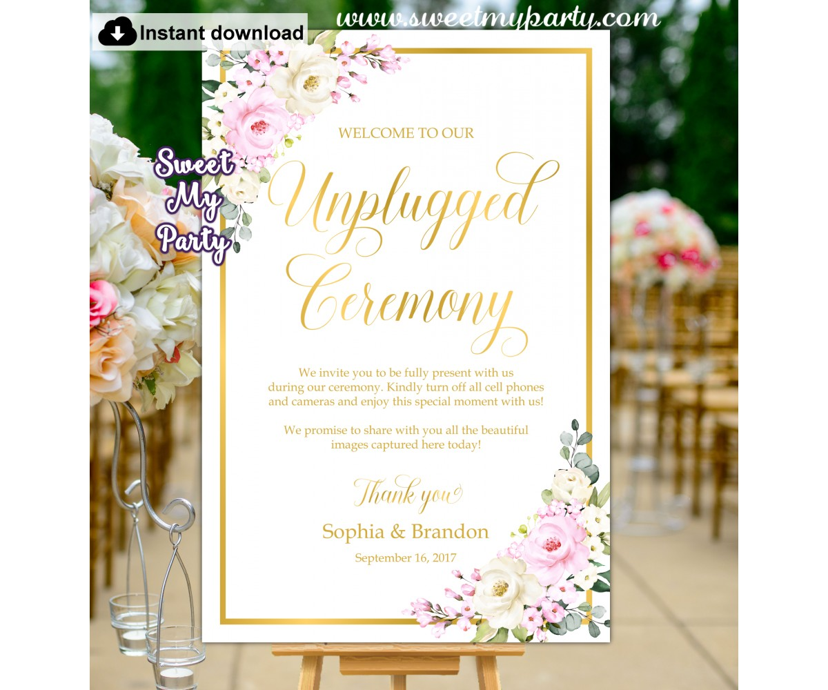 Cream pink unplugged cermony sign,Ivory pink unpluggd wedding sign,(135)