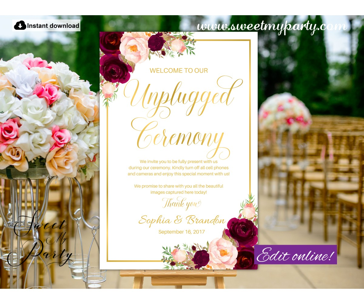 Burgundy Unplgged Ceremony sign,Gold Unplugged Wedding sign,(61cw)