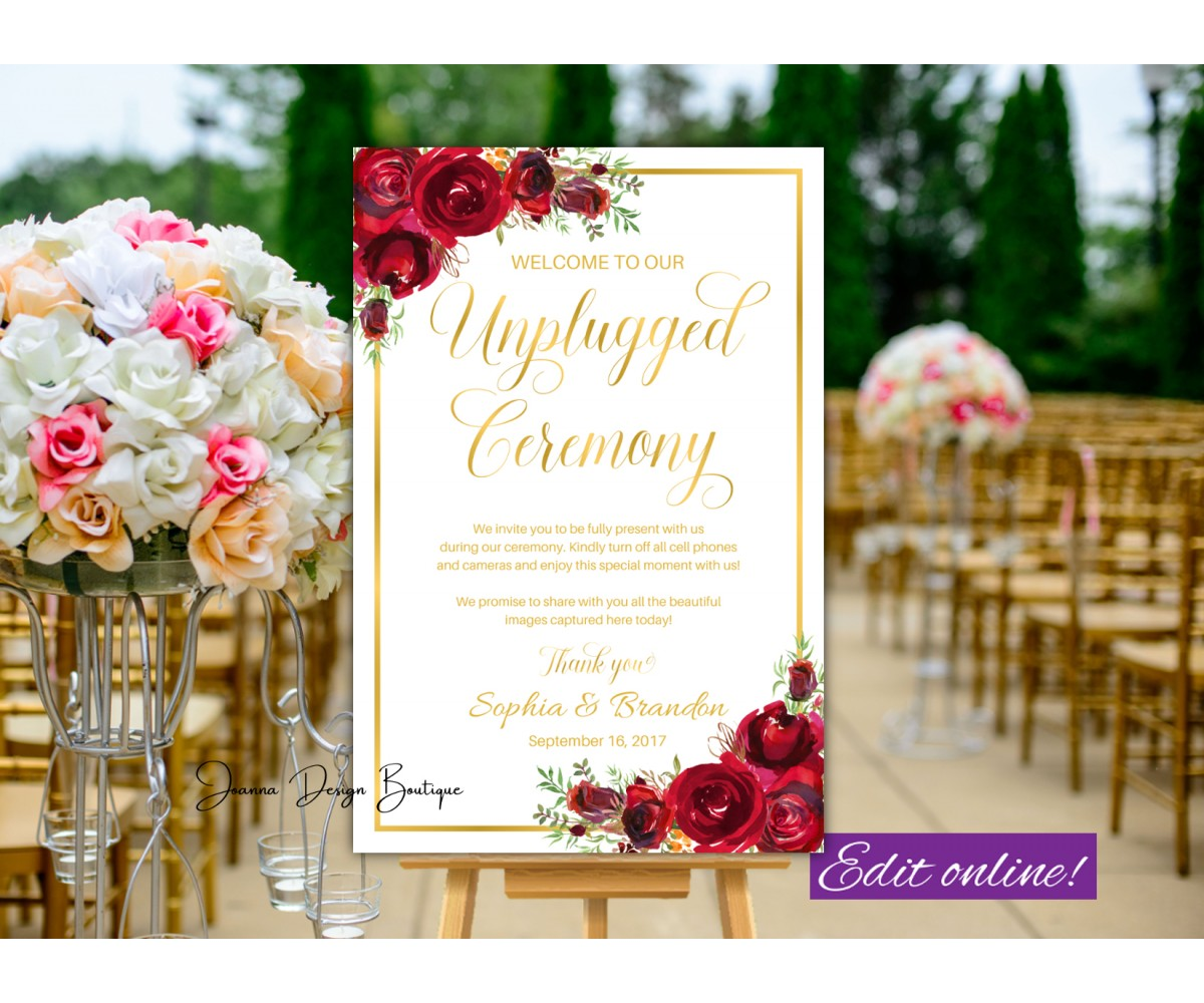 Red Roses Unplugged Ceremony sign,Gold Unplugged Wedding sign,(16w)
