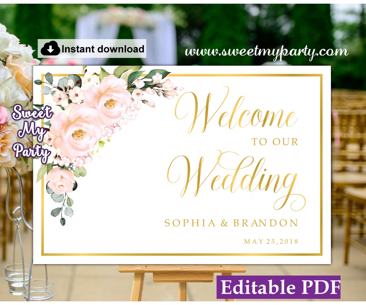 Wedding Welcome Sign.Blush Roses Welcome Sign Template Blush Roses Wedding Welcome Sign Template 136