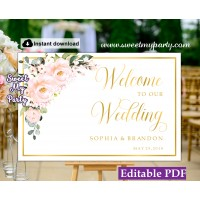 Blush roses welcome sign template,Blush roses wedding welcome sign template,(136)