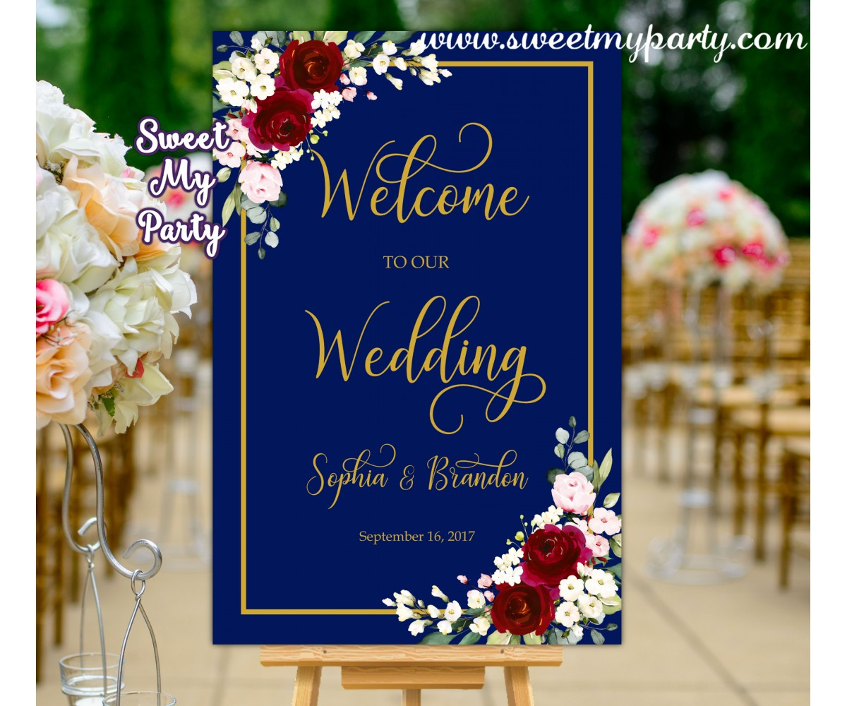 Navy Burgundy Wedding Welcome Sign,Welcome sign with Burgundy Flowers,(125w)