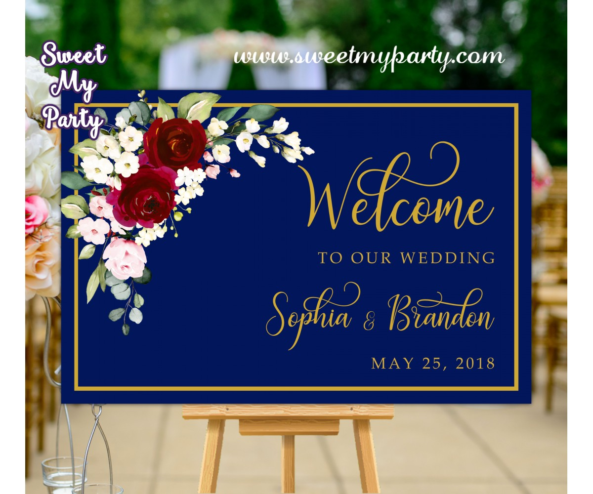 Navy Burgundy Wedding Welcome Sign,Welcome sign with Burgundy Flowers,(125aw)