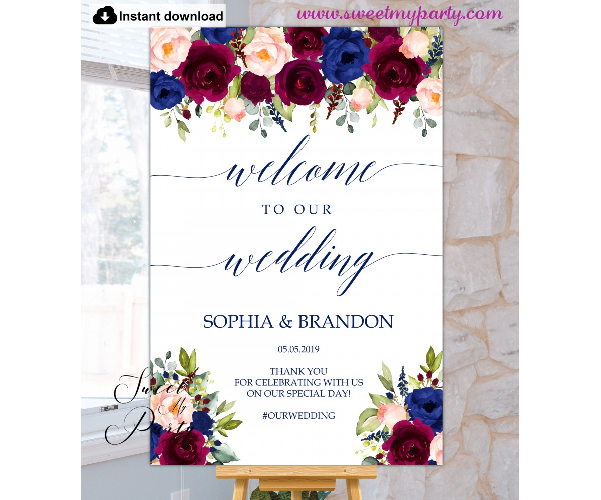 Rustic Navy Wedding Welcome Sign Digital file W879 Navy Welcome Wedding Sign,Maroon Blush and White Flowers Welcome To Our Wedding Sign