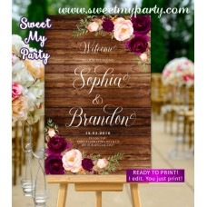 Rustic Wedding Welcome Sign,Burgundy Wedding Welcome sign,(93w)