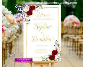 Burgundy Wedding Welcome Sign,Ivory Wedding Welcome sign,(124w)