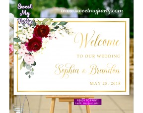 Burgundy Wedding Welcome Sign,Ivory Wedding Welcome sign,(124aw)