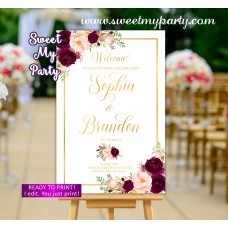 Burgundy Wedding Welcome Sign,Floral Wedding Welcome sign,(61dw)