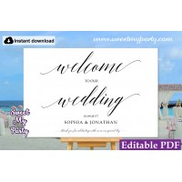 Calligraphy welcome sign template,Modern wedding welcome sign,(27ac)