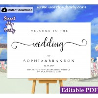 Modern Calligraphy welcome sign template,Calligraphy wedding welcome sign template, (54b)