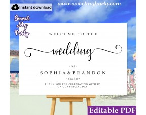 Modern Calligraphy welcome sign template,wedding welcome sign, (54b)