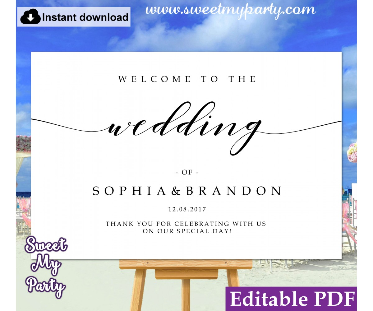 Modern Calligraphy welcome sign template,wedding welcome sign, (47)