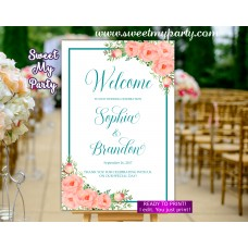 Coral turquoise Wedding Welcome Sign,Peach turquoise Wedding Welcome sign,(111w)