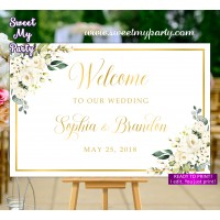 Ivory Wedding Welcome Sign,Cream Wedding Welcome sign,(123bw)