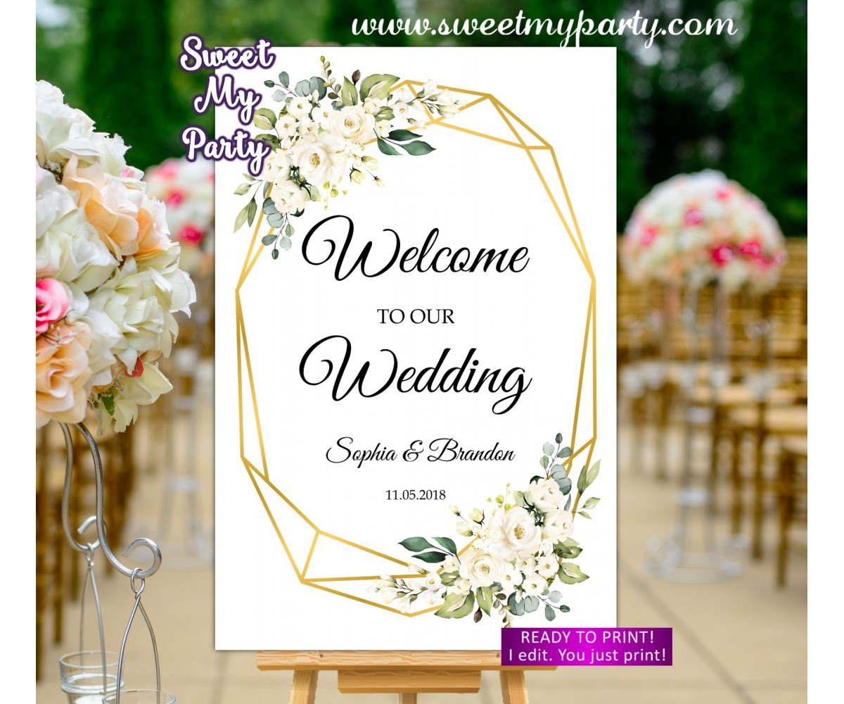 Ivory Wedding Welcome Sign,Geometric Wedding Welcome sign,(121w)
