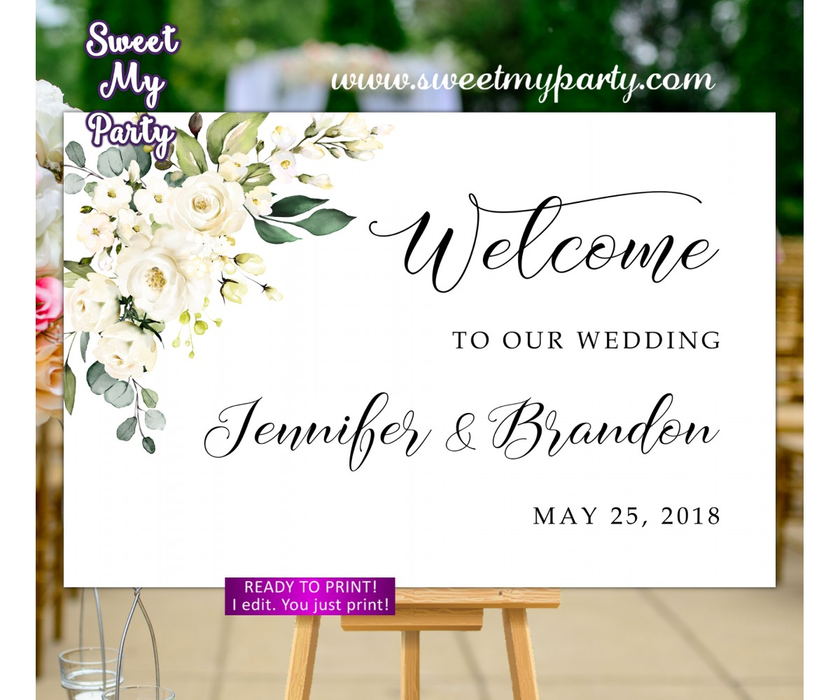 Ivory Wedding Welcome Sign,Cream Wedding Welcome sign,(123w)