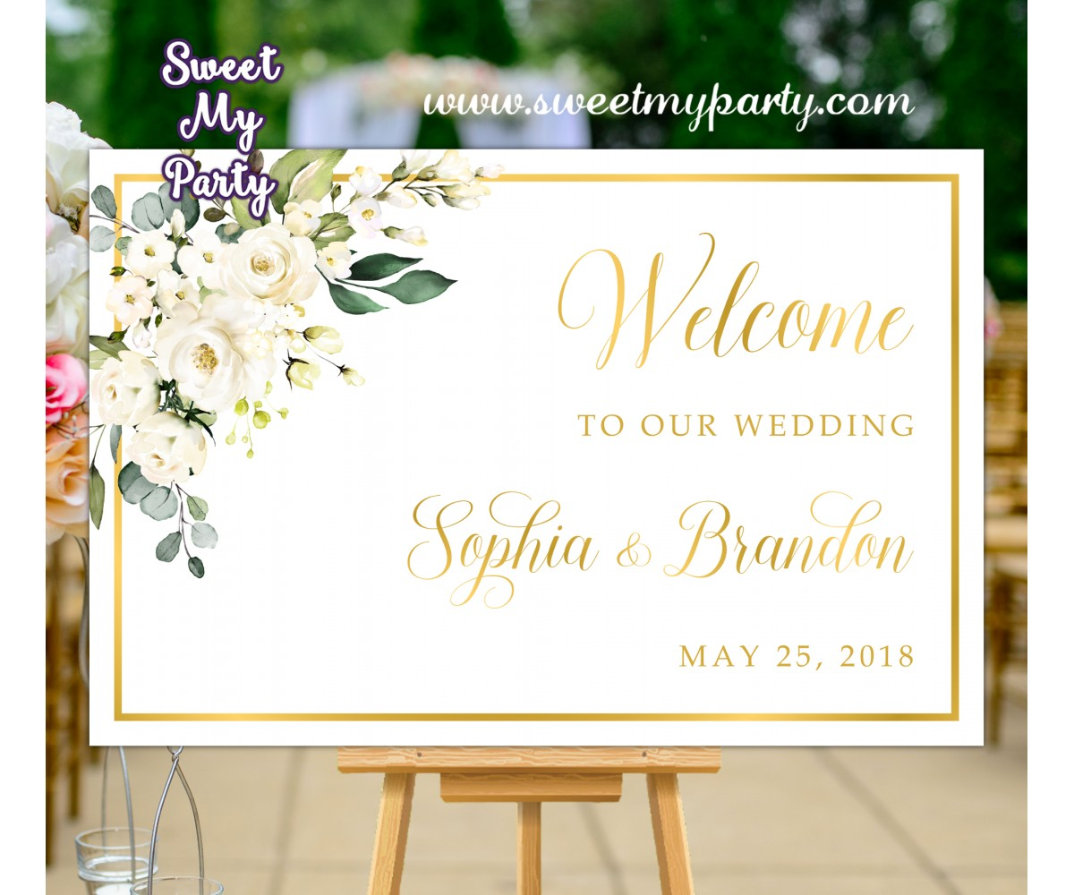 Ivory Wedding Welcome Sign,Cream Wedding Welcome sign,(123aw)