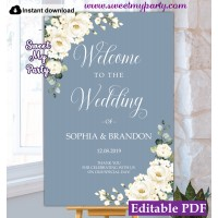 Dusty Blue Wedding Welcome sign template,Ivory roses welcome sign template,(141)