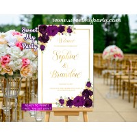 Eggplant Wedding Welcome Sign,Gold Wedding Welcome sign,(19w)
