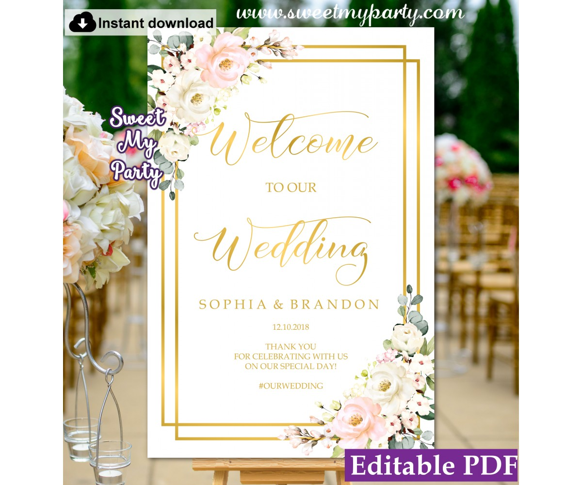 Blush Ivory welcome sign template,Floral wedding welcome sign template, (130)