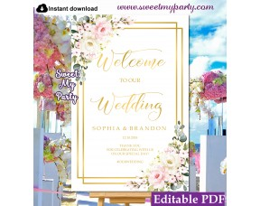 Floral welcome sign template,Ivory Pink wedding welcome sign template, (130)