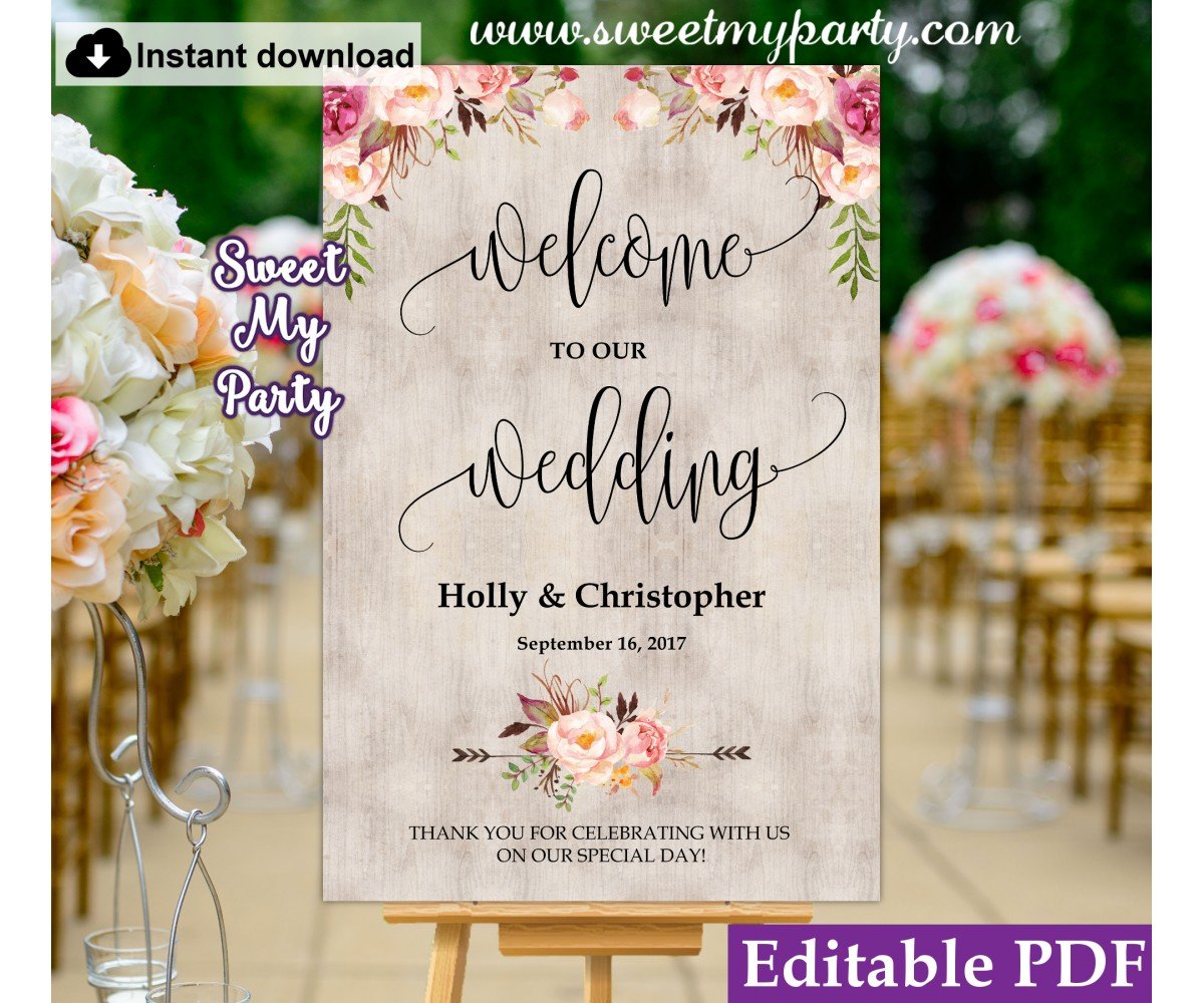Boho welcome sign template, Floral welcome sign template, (31)