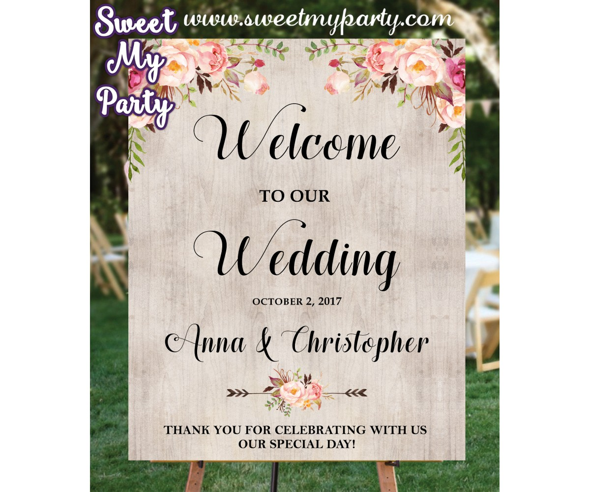 Boho Wedding Welcome sign,floral Wedding Welcome Sign, (031w)