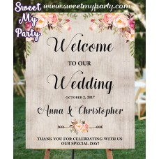 Floral Wedding Welcome sign, Boho Wedding Welcome Sign, (031w)