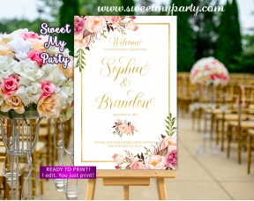 Floral Wedding Welcome Sign,Blush Gold Wedding Welcome sign,(31gw)