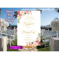 Floral Wedding Welcome Sign,Blush Gold Wedding Welcome sign printable,(31iw)
