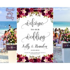 Floral Burgundy Wedding Welcome Sign,Wedding welcome to our wedding sign,(032w)