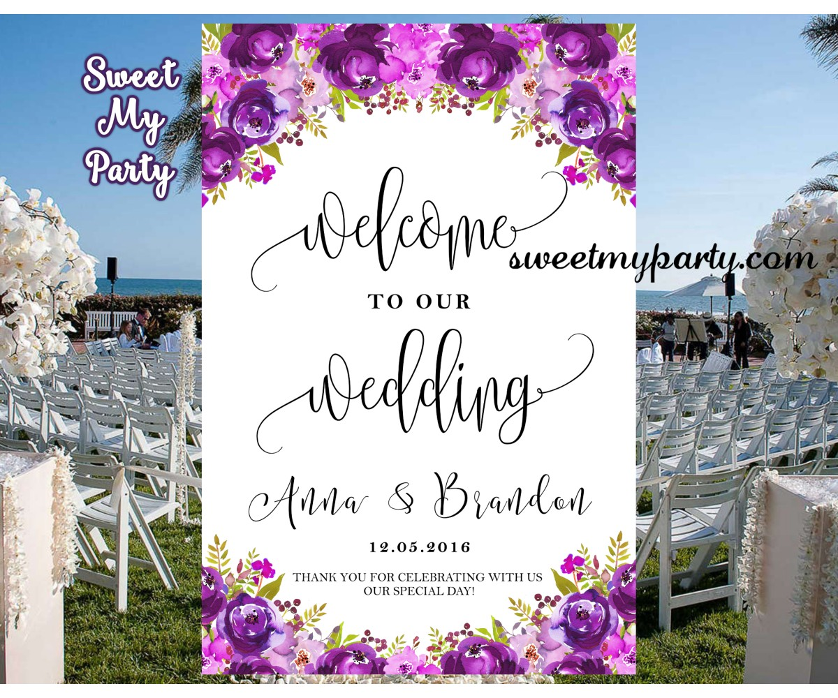 Purple Wedding Welcome Sign,Welcome to our wedding sign,(033w)